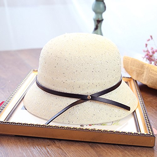 Hatrita-J Straw Hat Korean Version Of The New Hollow Bow Visor Dome Sequined Thong Fisherman Hat A Straw Hat 58-60Cm Milk (Sequined Straw)