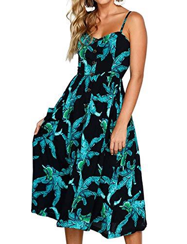 Women SummerDresseswithSpaghettiStraps - TropicalDress Petite midi Beach Holiday Dresses Blue Black S