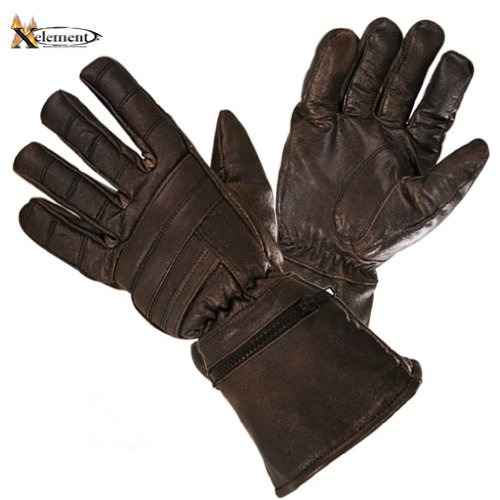 Xelement XG230 Driving Retro Mens Brown Leather Gauntlet Motorcycle Gloves - - Male Retro