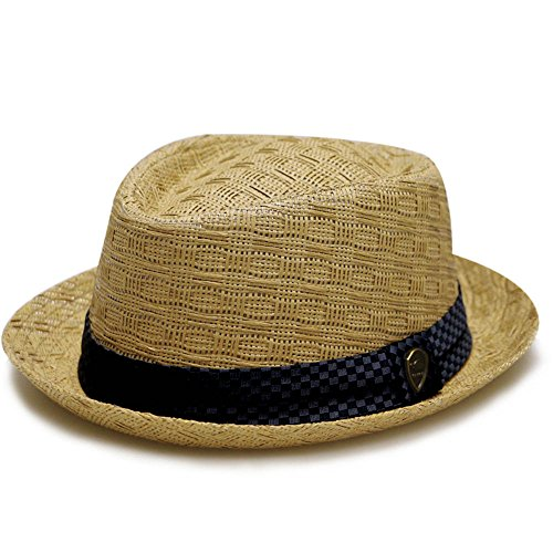 Pamoa Unisex Pms540 Summer Porkpie Straw Fedora Hats 3 Colors (S/m, Brown)