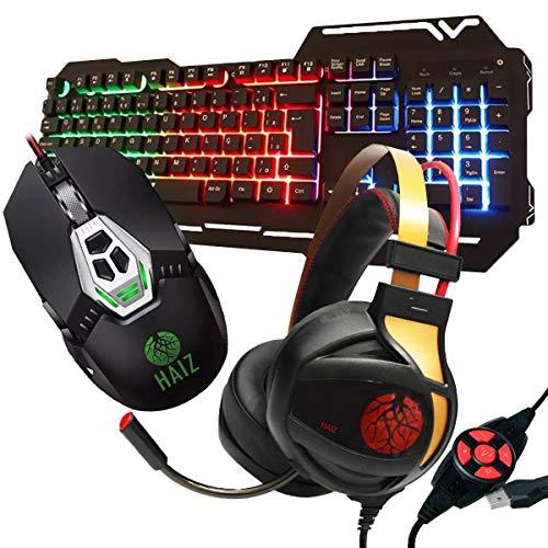 Kit Gamer Haiz Teclado Mouse E Headset 7.1 Luz Led Hz27