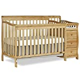 Crib Toddler Bed Changing Table Dream On Me 5 in 1 Brody Convertible Crib with Changer, Natural