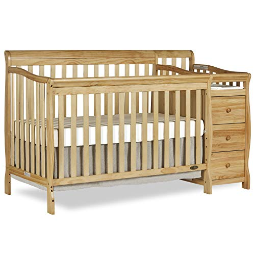 (Dream On Me 5 in 1 Brody Convertible Crib with Changer, Natural )