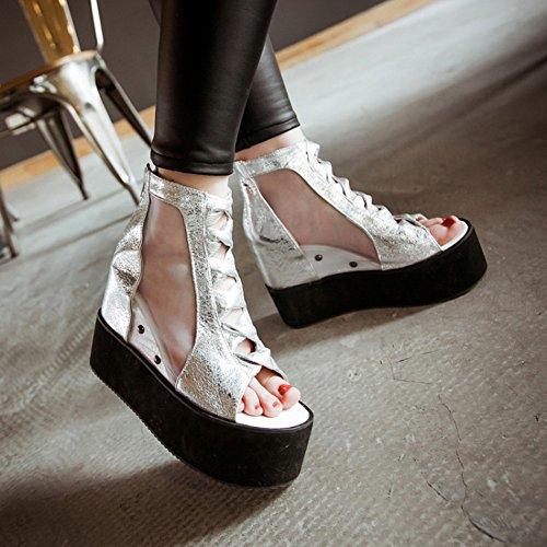 Easemax Womens Elegante Scintillio Strap Cut Out Peep Toe Zipper Mesh Piattaforma Di Alta Sandali Con Zeppa In Argento