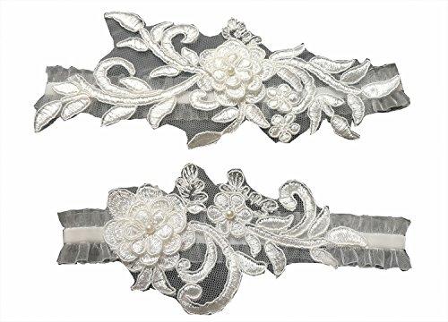 Wedding garters for bride sequins lace bridal garter set ()