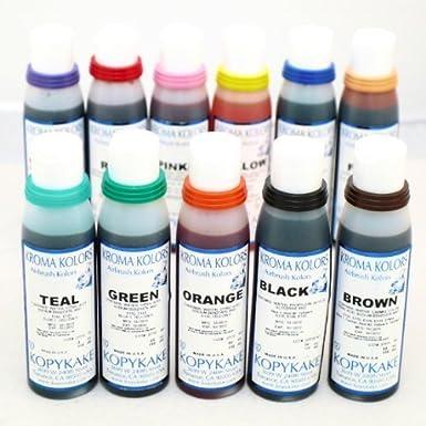 Airbrush Edible Cake Spray Paint Ink 12 x 4oz Bottle Set: Amazon.co ...