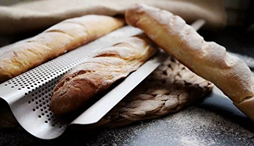French Bread Pan Baguette Baking Tray Perforated 3-slot Non Stick Bake Loaf Mould 15inch (baguette pan) by Monfish (Image #4)