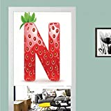 3D printed Magic Stickers Door Curtain,Letter N,N Letter Capitalized in Red Berry with Various Green Leaves Seeds Decorative,Vermilion Green Orange ,Privacy Protect for Kitchen,Bathroom,Bedroom(1 Pan