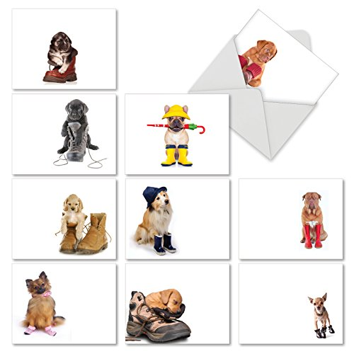 These Boots Are Made For Puppies: 10 Assorted Blank All-Occasion Note Cards Featuring Adorable Puppies Sitting Inside Various Shoes and Boots, w/White Envelopes. (4' Labrador Retriever)