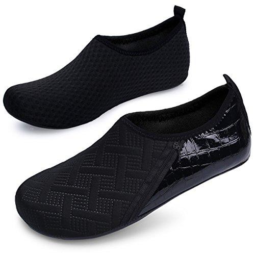 JIASUQI Mens and Womens Summer Barefoot Water Skin Shoes for Surf Pool Zip Black US 5.5-6.5 Women, 5-5.5 Men by JIASUQI (Image #1)