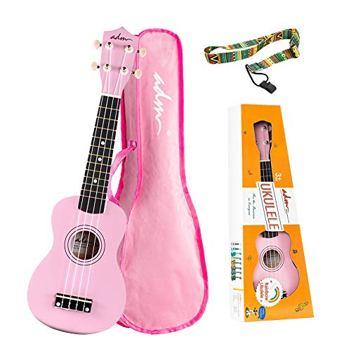 ADM Soprano Ukulele for Kids Beginners 21 Inch with Uke Starter Pack Kit, Gig Bag and Strap, Pink -