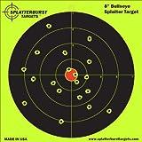 "100 Pack - 8"" Bullseye Splatterburst Target - Instantly See Your Shots Burst Bright Florescent Yellow Upon Impact!"
