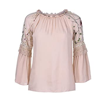 24a988f19d3 Clearance Women Blouse Cinsanong Fashion T-shirt Flare Sleeve O-Neck Floral  Embroidery Lace