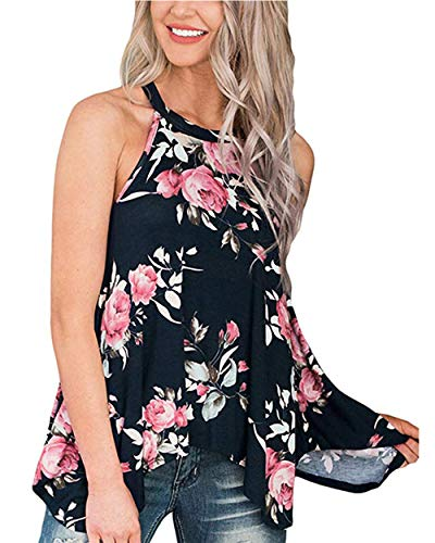 Barlver Women's Summer Tank Tops Floral Sleeveless High Neck Camis Shirts Flowy Halter Casual Tunic Blouse Black