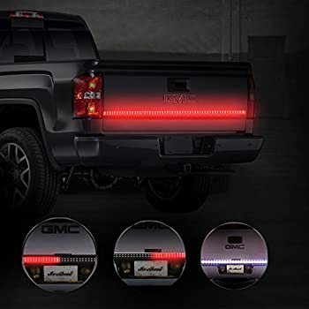 MICTUNING 60 Inch 2-Row LED Truck Tailgate Light Bar Strip Red/White Reverse Stop Turn Signal Running for SUV RV Trailer