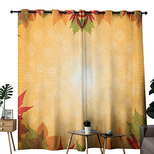 duommhome Harvest Decor Curtains Striped Dotted Background and Vibrant Maple Aspen Oak Leaves Seasonal Nature Noise Reducing W72 x L96 Red Green Orange