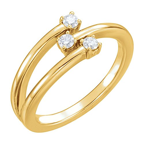 (Jewels By Lux 14K Yellow Gold 1/5 CTW Diamond Freeform Ring Size 7)