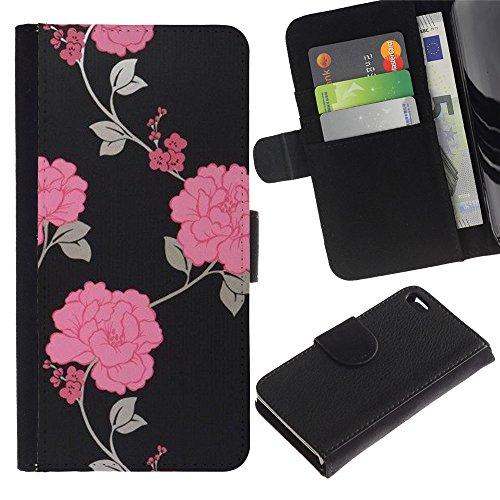iBinBang / Coque Housse Case Cover Etui en cuir - Noir Floral Wallpaper - Apple Iphone 4 / 4S