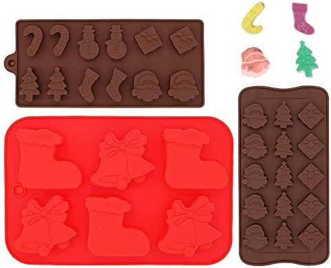 Food Grade Silicone Christmas Non-stick Chocolate, Jelly, Biscuits and Candy Mold, IHUIXINHE Cake Baking Mold (Set of 3)
