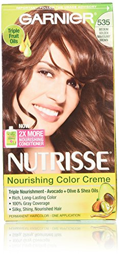 Garnier Nutrisse Nourishing Hair Color Creme, 535 Medium Gold Mahogany Brown, 3 Count  (Packaging May - Brown Gold Color