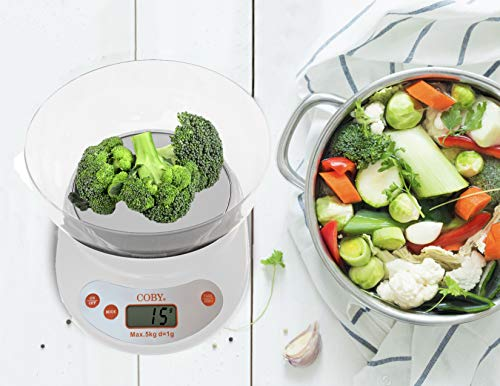 Coby Digital Tempered Glass Multifunction Kitchen and Food Scale With Removable Bowl, TARE Function, 11 Pounds, Modern Winter White