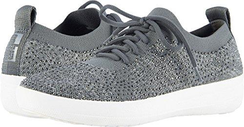 FitFlop Womens F-Sporty Uberknit Charcoal/Dusty Grey Sneaker - 8.5