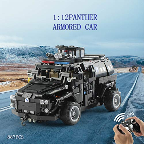 Building Blocks, RC Car 1:12 2.4G Four-way Special Police Armored Vehicle Assembled DIY Kit For Kid Education Easy to Carry 4.8V 700mAh Battery lkoezi (AS -
