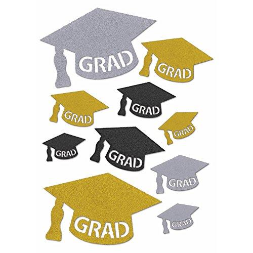 Forum Novelties Multi-Size Glitter Graduation Cap Cutouts for Table and Wall Decorations - Black Silver Gold Glitter - 10 Pcs ()