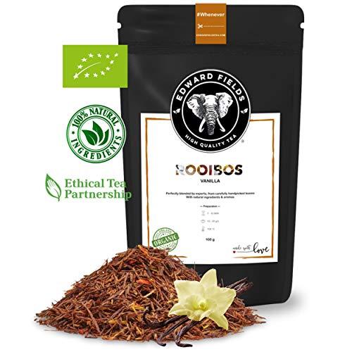Edward Fields - Rooibos Organico de alta calidad con Vainilla Ingredientes y aromas naturales Cantidad 100g Formato Granel Origen Sudafrica Detox, antioxidante