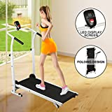 Fitnessclub Folding Manual Treadmill Walking Machine Incline Cardio Fitness Running Exercise...