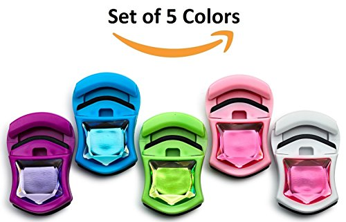 (Set of 5 Colors - Plastic Eyelash Curler with Refill Pad, Durable Spring Loaded Natural Lash Curler, Shapes Charming Curled Lashes, Colors: Pink, Purple, Green, Blue and White.)