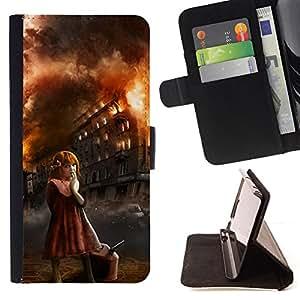 ARSON EVIL HALLOWEEN FIRE GIRL MONSTER/ Personalizada del estilo del dise???¡Ào de la PU Caso de encargo del cuero del tir????n del soporte d - Cao - For Samsung Galaxy S5 Mini, SM-G800