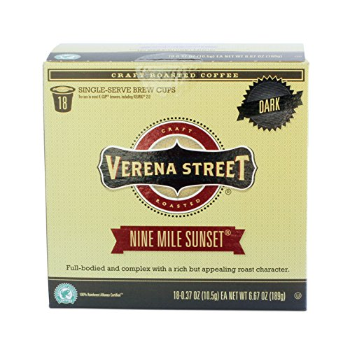 Verena Street Single Cup Pods (18 Count) Dark Roast Coffee, Nine Mile Sunset, Rainforest Alliance Certified Arabica Coffee, Compatible with Keurig K-cup Brewers