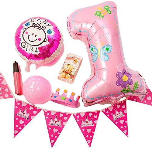 (ADOSSY) 誕生日 パーティ 誕生日会 飾り付け デコレーション 飾り 1歳 ファースト バースデー ポシェット付き (12点セット, ピンク)