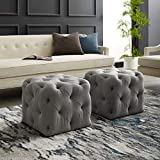 Inspired Home Grey Linen Ottoman – Design: Angel | Square Shaped | Modern | Allover Tufted Design For Sale