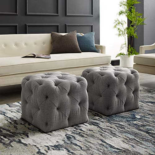 Inspired Home Grey Linen Ottoman - Design: Angel | Square Shaped | Modern | Allover Tufted Design
