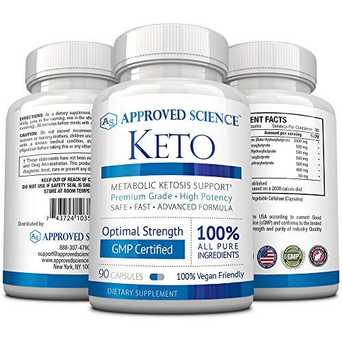 Approved Science® Keto: Pure Exogenous 4 Ketone Salts (Calcium, Sodium, Magnesium and Potassium) and MCT Oil to Boost Ketosis and Burn Fat. 3 Bottles by Approved Science (Image #2)