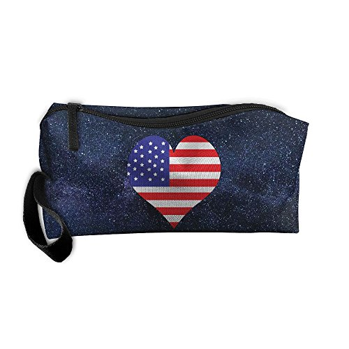 (American-flag-heart-clipart Portable Multi-function Handbag All-match Sewing Kit Cosmetic Bag)