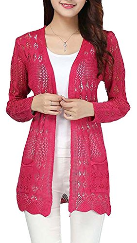 EachWell Women Hollow Crochet Cable Knit Pockets Open Front Cardigan Sweater Rose Red