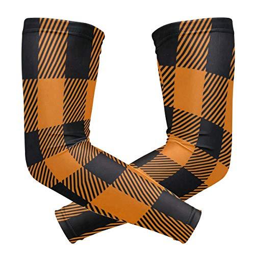 Arm Sleeves Tartan Black Orange Plaid Halloween Pumpkin Mens Sun UV Protection Sleeves Arm Warmers Cool Long Set Covers -