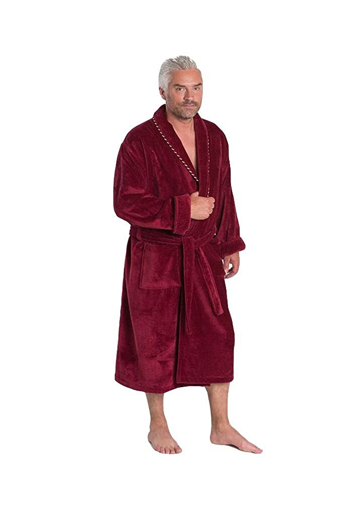 Bown of London - Men's Luxurious 450g Velour Dressing Gown with Piped Edges and Turnback Cuffs, Extra Long