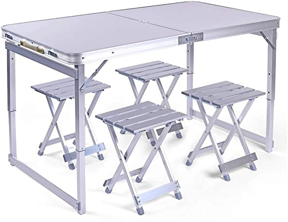 Combinación de mesa plegable de plata de alta resistencia,juego de mesa plegable de ocio para el hogar que acampa al aire libre,mesa y sillas plegables de aleación de aluminio estable antideslizante: Amazon.es: