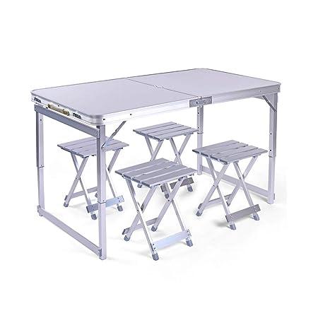 Combinación de mesa plegable de plata de alta resistencia,juego de ...