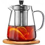 Glass Teapot with Infuser Set – 950ml Glass Tea Pot – Sleeve for Warmer Tea, Coaster & E-Book – Glass Tea Maker for Brewing Cold & Hot Tea – High Heat Resistance – Stovetop Safe