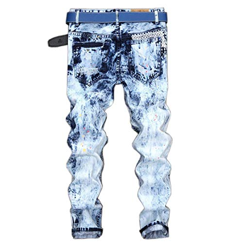 Stretch Fit Retrò Pantaloni Vita Da Media Blu Strappati Casual Skinny Jeans Uomo A Senza Denim Dritti Slim Cinturino qFpS7