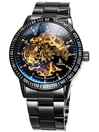 (Classic Mens All Black Coated Glass Automatic Mechanical Wrist Watch Skeleton Gold-tone Movt. Metal Strap)