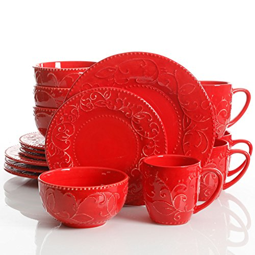 Laurie Gates Cassis 16 Piece Dinnerware Set, Red