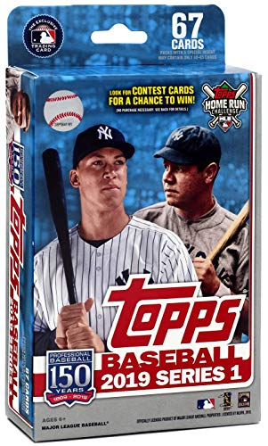 Hanger Box 2019 Topps Baseball Factory Sealed Series One with 67 Cards per Box Possible Autographs Rookies Game Used Relic Cards and More - Plain Hanger