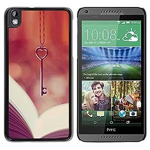YOYOYO Smartphone Protección Defender Duro Negro Funda Imagen Diseño Carcasa Tapa Case Skin Cover Para HTC DESIRE 816 - corazón del amor clave viñeta lectura de libros