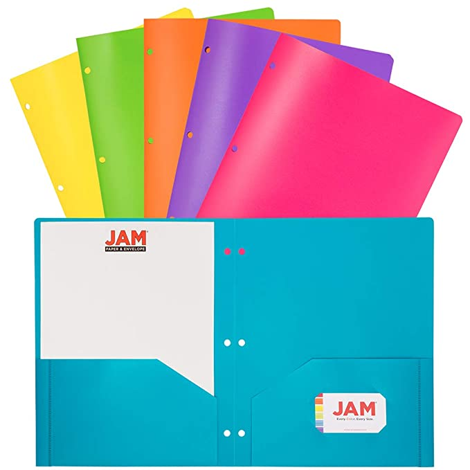 Jam Paper Plastic 2 Pocket School Pop Folders With 3 Hole Punch   Assorted Fashion Colors   6/Pack by Jam Paper